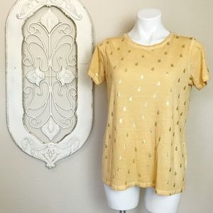 Dantelle | Yellow Gold Pineapple Print Tee M